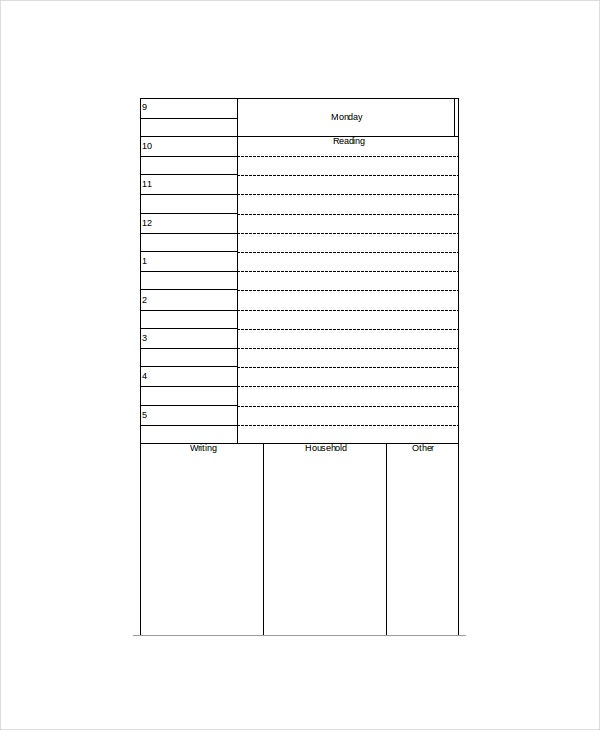 student daily planner template 4 free word excel pdf documents