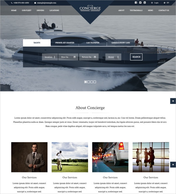 Yatch Transfer Services AngularJS WordPress Theme $59