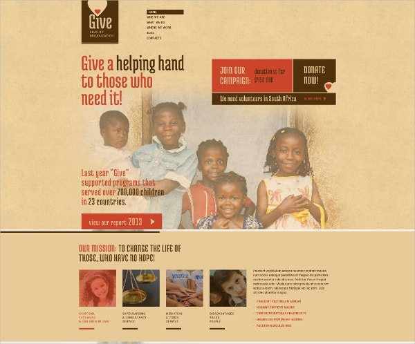 retro charity wordpress theme