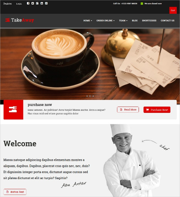 Restaurant AngularJS WordPress Theme $59