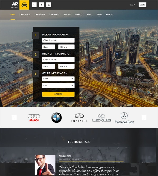 Automobile AngularJS WordPress Theme $59