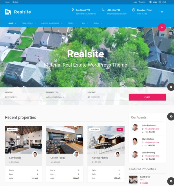 Real Estate AngularJS WordPress Theme $59