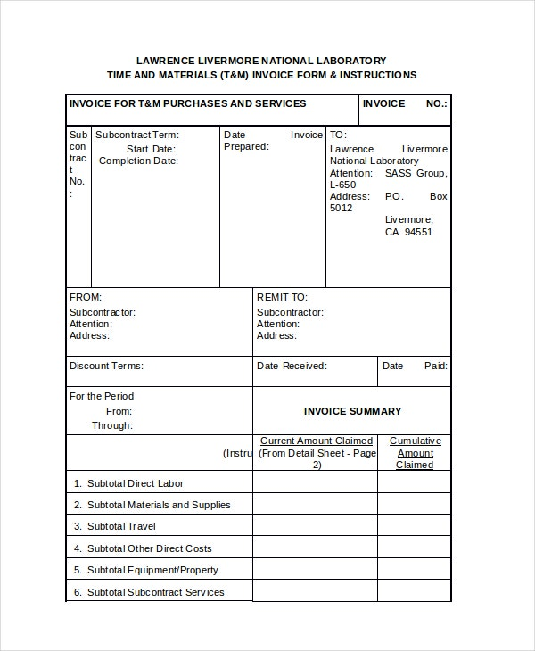 Time and Material invoice Form