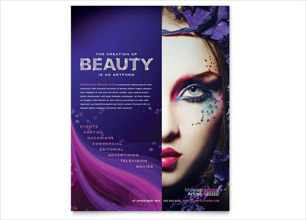 commercial makeup artist flyer