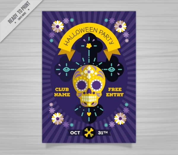 creepy halloween poster free vector