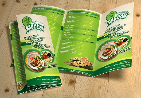 Tri-Fold Restaurant Food Menu Template Free PSD