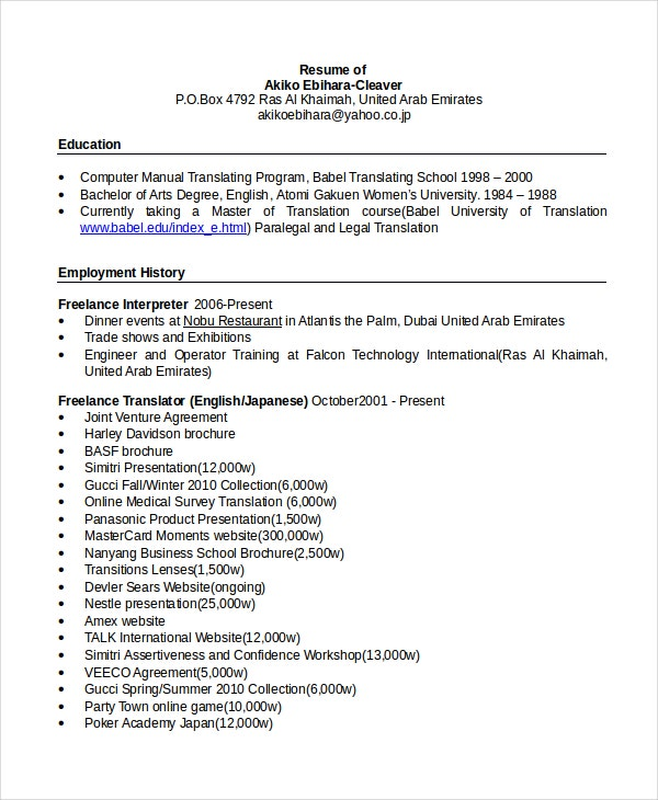 Bilingual Secretary Resume