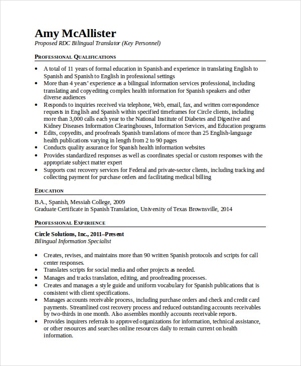Bilingual Translator Resume