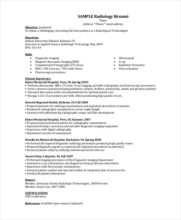 Sample Radiology Résumé