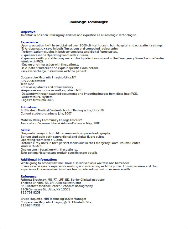 Technologist Radiologist Resume Template  Xray Tech Resume