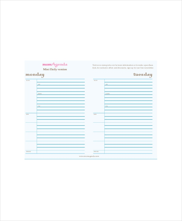 Daily Agenda Planner Template 4 Free PDF Documents Download – Daily Agenda