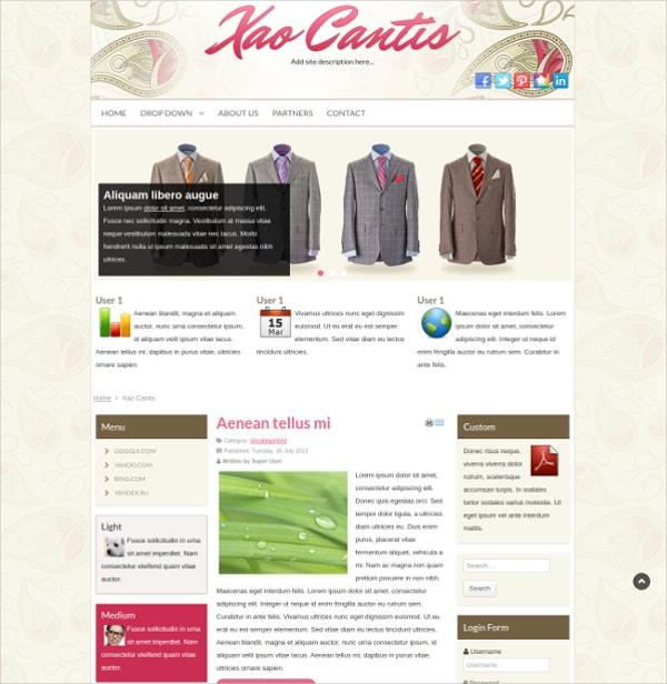 Vintage Clothing Joomla Website Theme