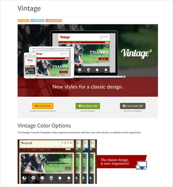 Classic Vintage Joomla Website Theme