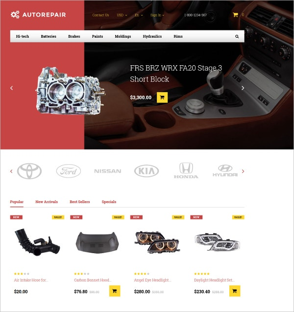 Auto Repair & Car Parts PrestaShop Website Theme $97