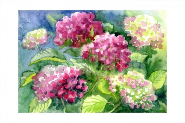 Watercolor Blooming Flowers Painting