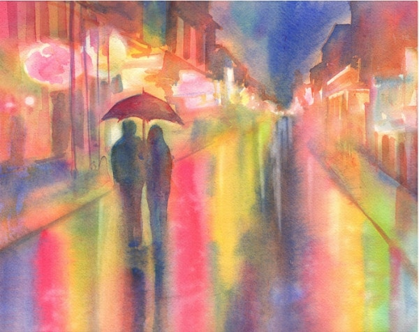 Rainy Night Watercolor Painting