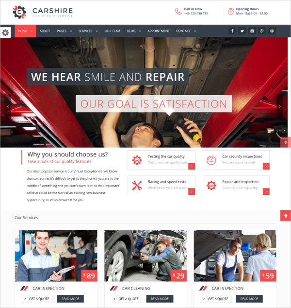 Auto Repair & Mechanic WordPress Website Theme $49