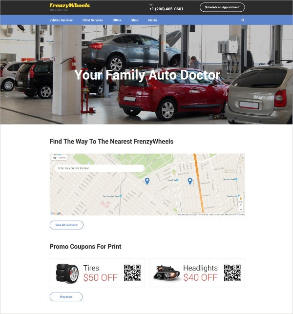 Auto Repair & Auto Parts Parts Website Theme $53