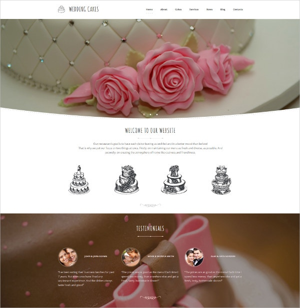 Premium Wedding Cake Moto CMS Website Template