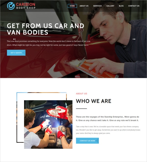 Auto Repair Shop HTML5 Website Theme $49