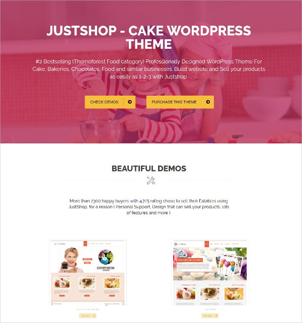 Cake & Restaurant WordPress Website Theme
