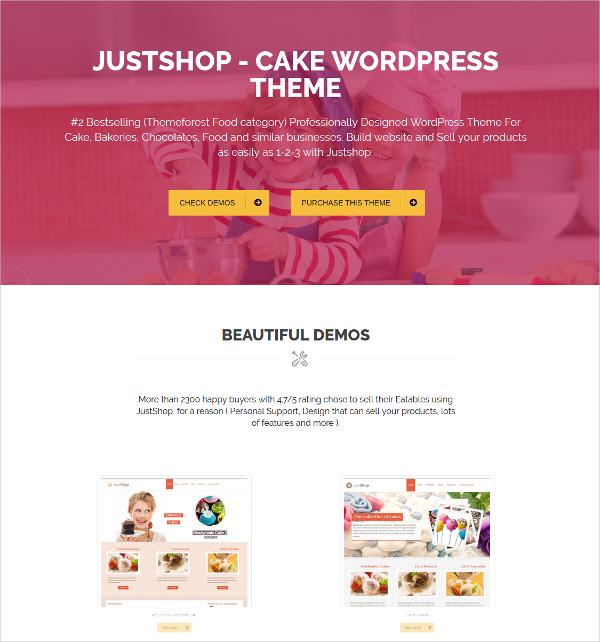 cake restaurant wordpress website theme