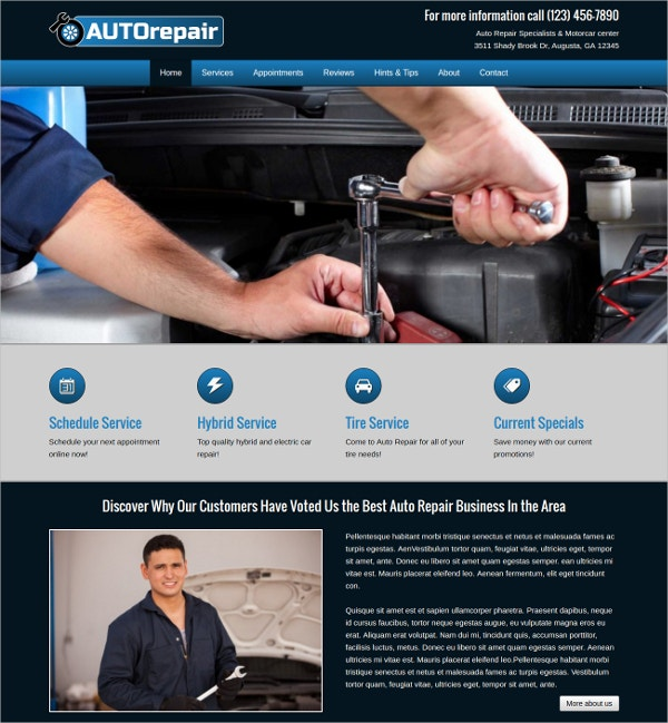 Professional Auto Repair WordPress Website Theme