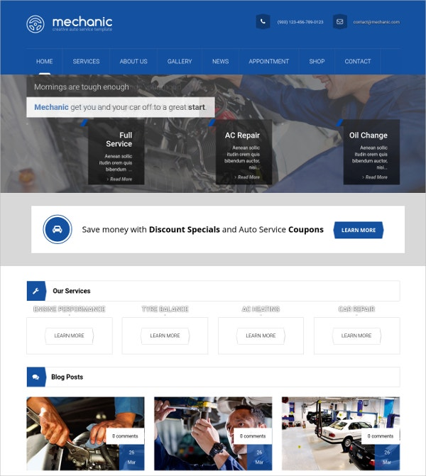 Auto Repair & car Polishing WordPress Website Template $59