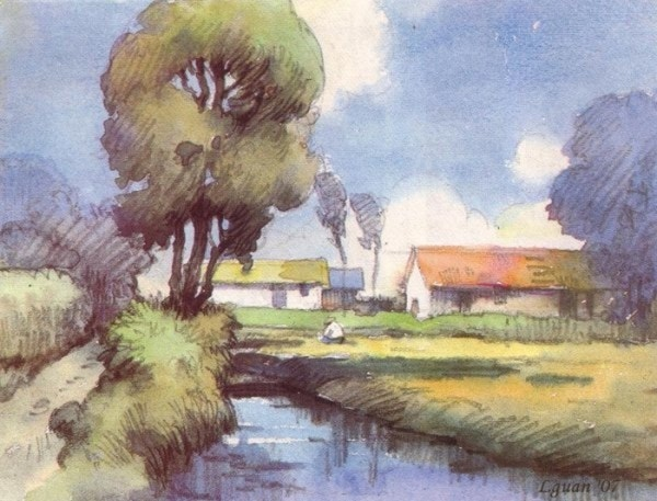 Watercolor Painting of Village