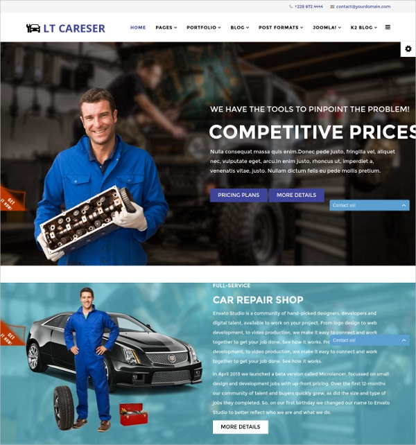 Auto Repair & Services Joomla Website Template $29