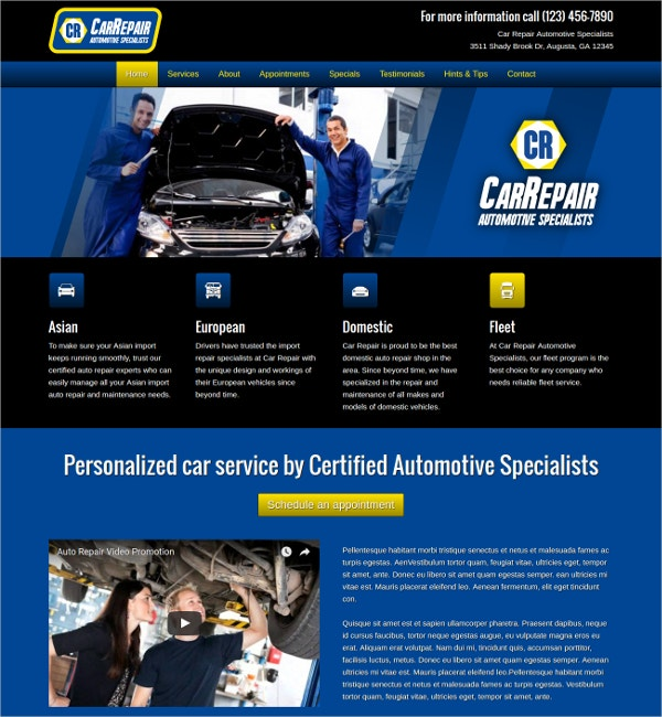 auto car repair wordpress website theme