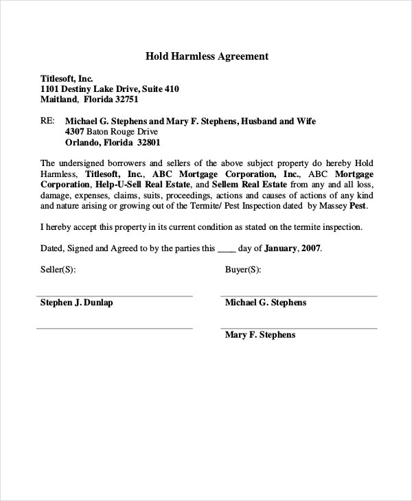 Hold Harmless Agreements  Free Sample Example Format  Free