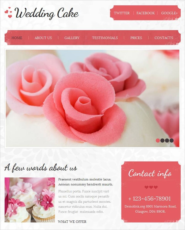 Tasty Wedding Cake HTML CMS Website Template