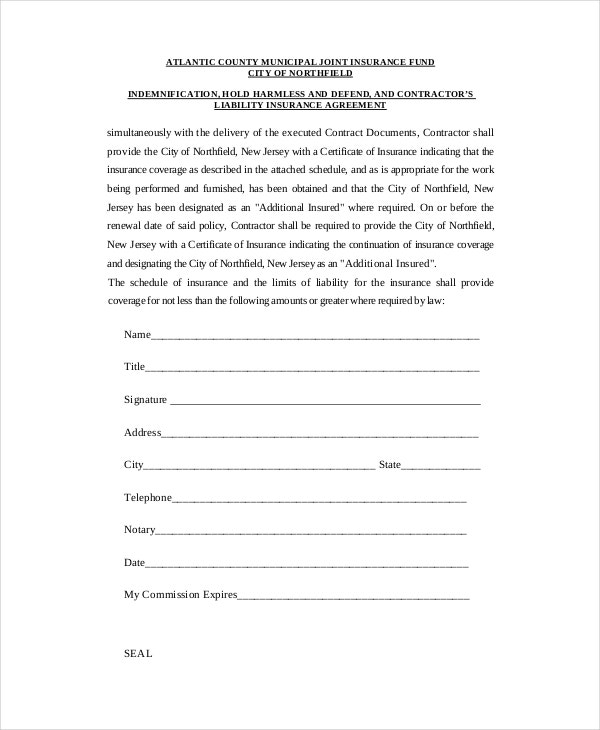 12 Hold Harmless Agreements Free Sample Example Format – Hold Harmless Agreement Template