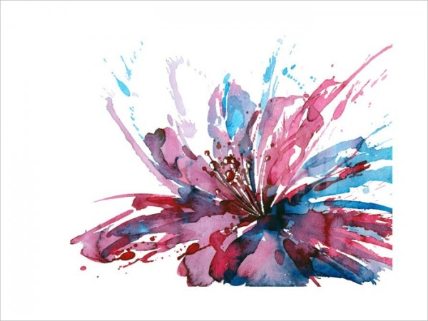 Absract Watercolor Flower Painting