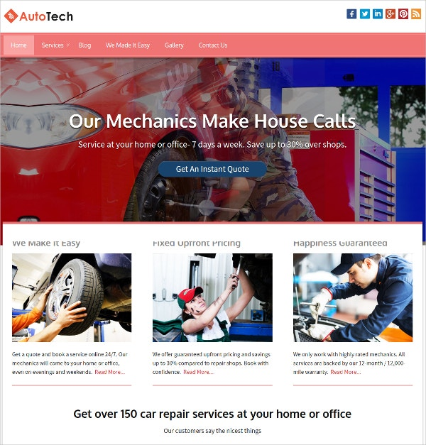 Auto Service Centers WordPress Website Theme