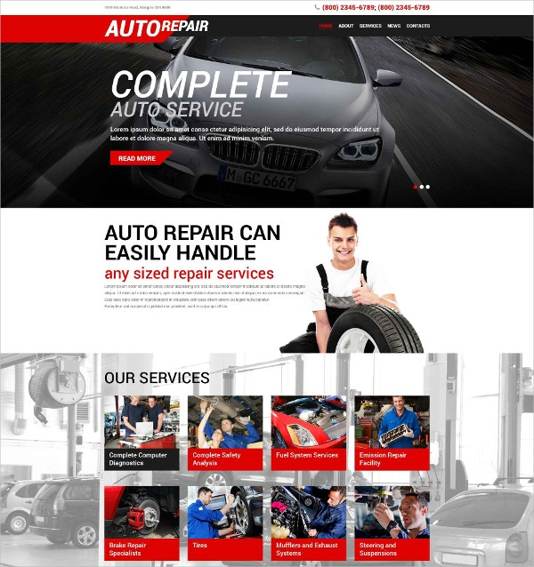 Auto services WordPress Website Theme $53