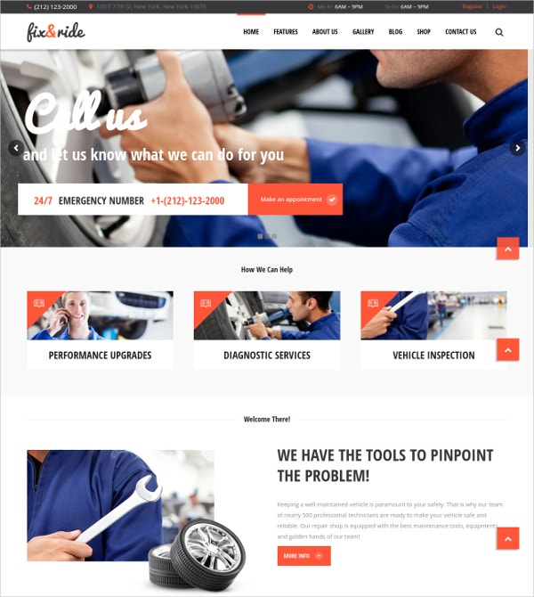 Auto Repair & Car Inspection WP Website Theme $59