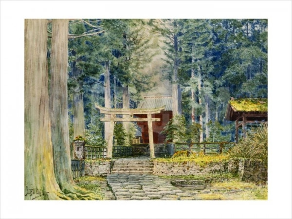 Stone Road to Shrine Watercolor Painting
