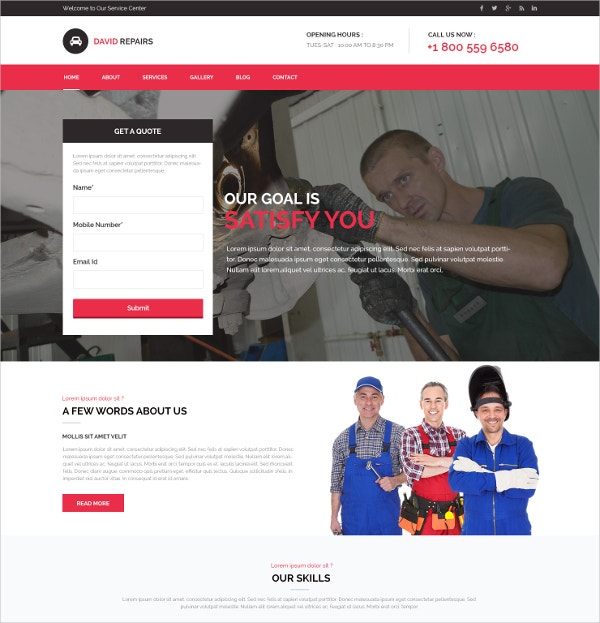 Modern Responsive Auto Repair Website Template $6