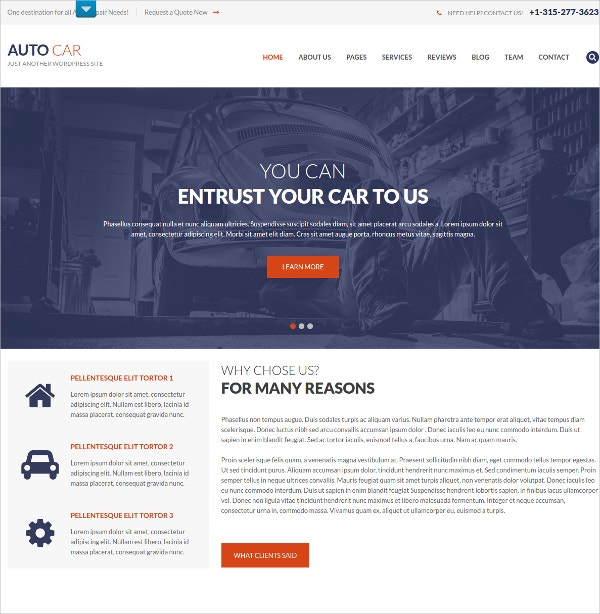 Premium Auto Repair WordPress Website Theme