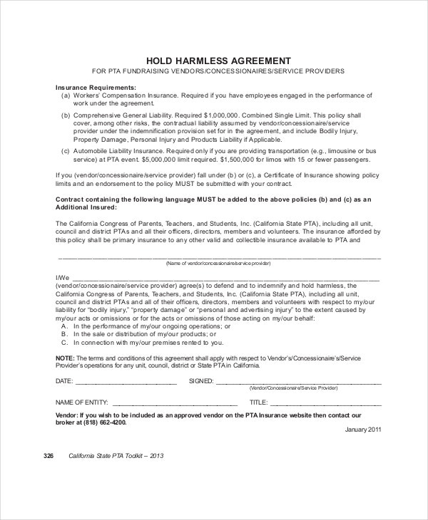 12 Hold Harmless Agreements Free Sample Example Format Free