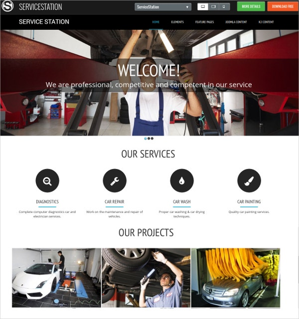 free auto car repair joomla website template