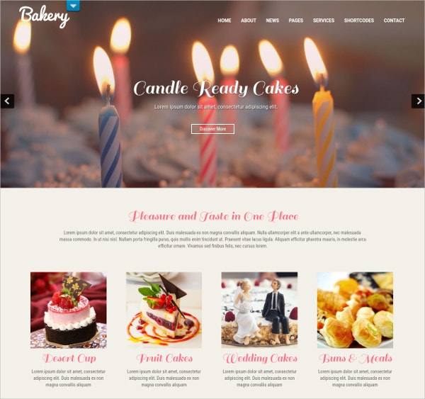 Cake & Delicious Memories WordPress Website Theme