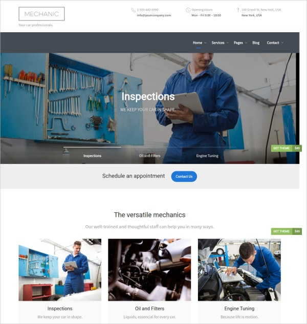 Auto Repair & Car Garage WordPress Theme $49