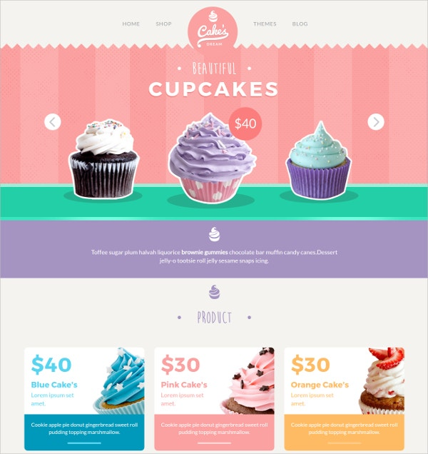 Yummy Cake Shop Website Template