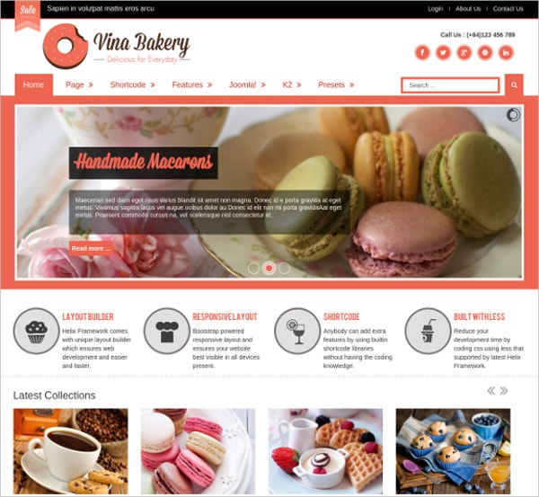 Responsive Cake & Party Website Template