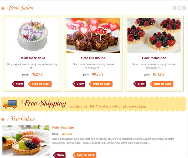 Responsive Joomla Bakery shops Website Template