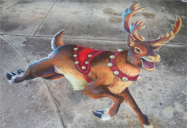 3d chalked reindeer art