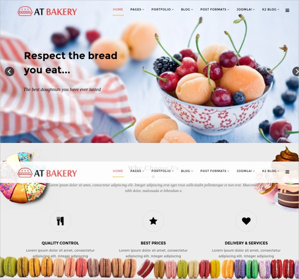 Responsive Cake & Bread Joomla Website Template